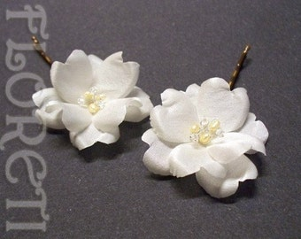Small Bridal Hair Flowers Ivory Rose Silk Bobby Pins Pearls Crystals, Set of 2 -Ready Made