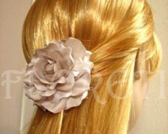 Gardenia Bridal Hair Clip Handmade Silk Flower Wedding Accessory in Seashell