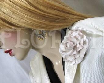 Gardenia Wedding Dress Pin Handmade Silk Flower Bridal Accessory in Seashell