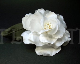 Couture White Magnolia Handmade Bridal Hair Accessory Wedding Flower Abstract-Impressionist LaLuna