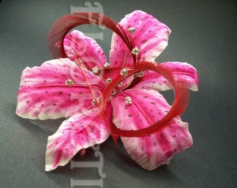 Pink Stargazer Lily Hair Clip Silk Flower Fascinator Crystals