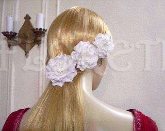 White Bridal Hair Clips n Wedding Dress Pin, 4 Piece Set Gardenia