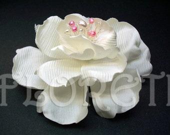 White Abstract - Impressionist Magnolia Wedding Dress Pin