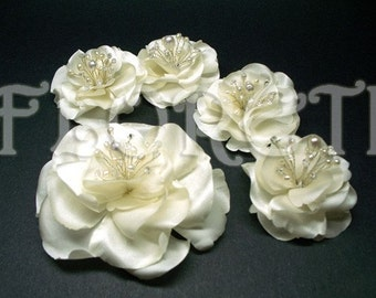 Light Ivory Magnolia Bride n Bridesmaids Hair Clip Set Abstract-Impressionist LaLuna