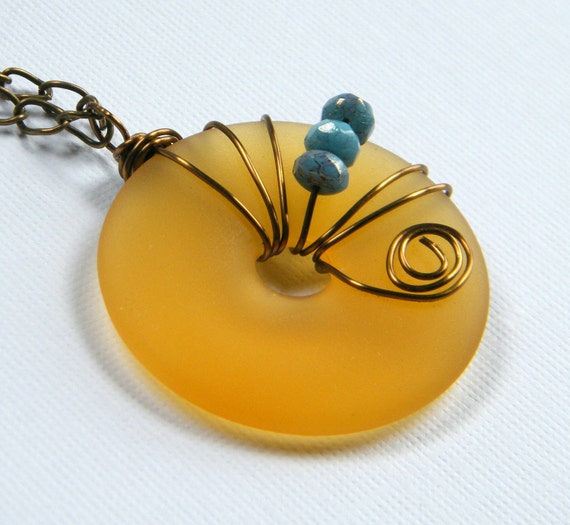 Amber Sea Glass Pendant, Frosted Amber Color Pendant,  Donut Pendant, Beach Glass Necklace, Beach Wedding, Bridesmaid Gift, Large
