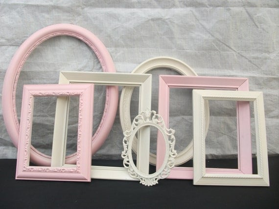 Vintage Shabby Chic Picture Frames Set of 7 Wall Gallery Wedding Nursery