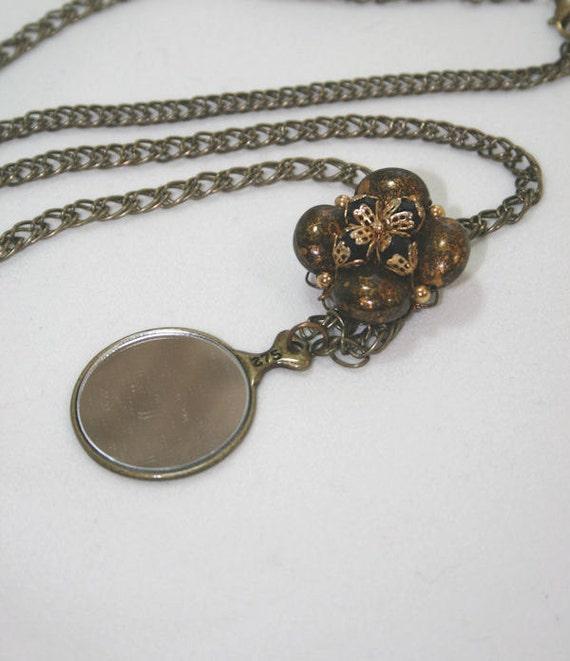 Mirror Monocle Pendant Necklace Edwardian Style