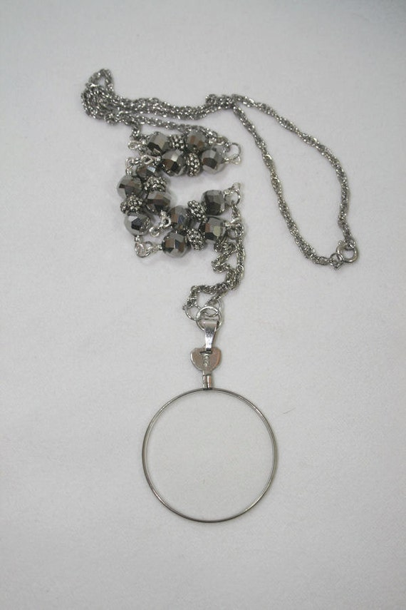 Magnifying Monocle Pendant with Glass Beaded Necklace Victorian Look