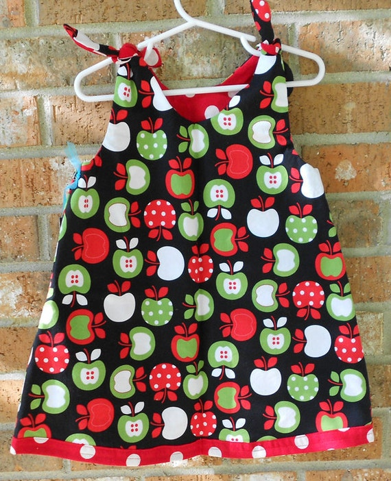 Retro Apple and Red and White Polka Dot Reversible Toddler Girls Dress Size 2T Ready to Ship