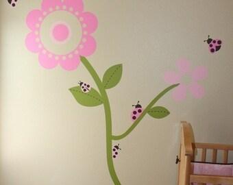 Ladybugs Lovin' the Flowers- Vinyl Wall Decal