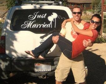 Just Married Car Sign- Dandelion Vinyl Decal