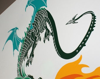Dragon vinyl wall decal- 2 or 3 colors