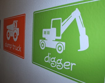 Construction Machines Vinyl Wall Decals- LARGE