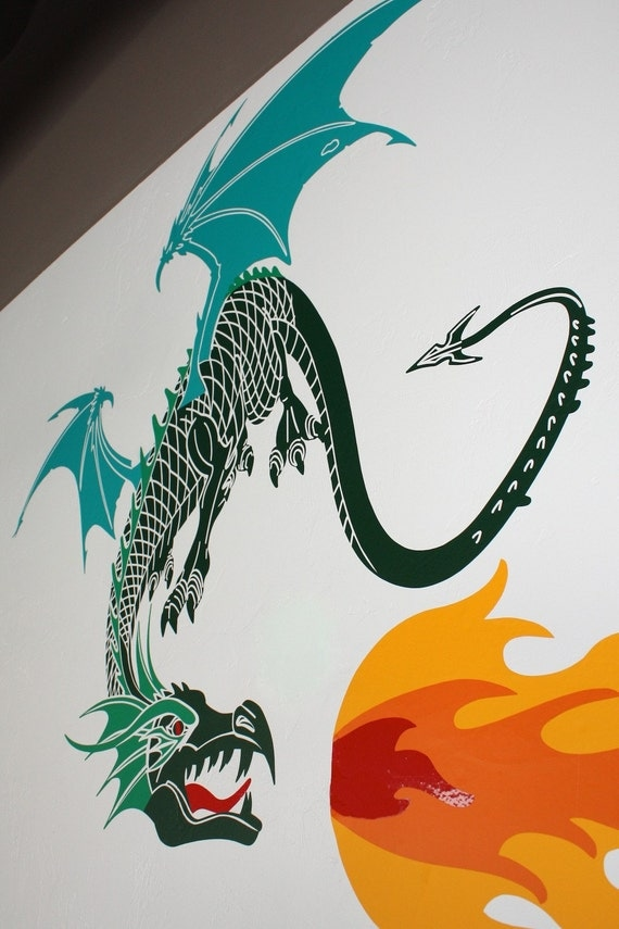 Ergor the Dragon- 2 or 3 colors- Vinyl Wall Decal