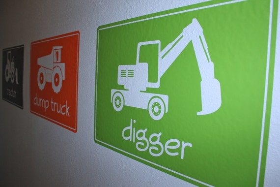 Big Construction Machines- SIZE LARGE- Vinyl Wall Decals