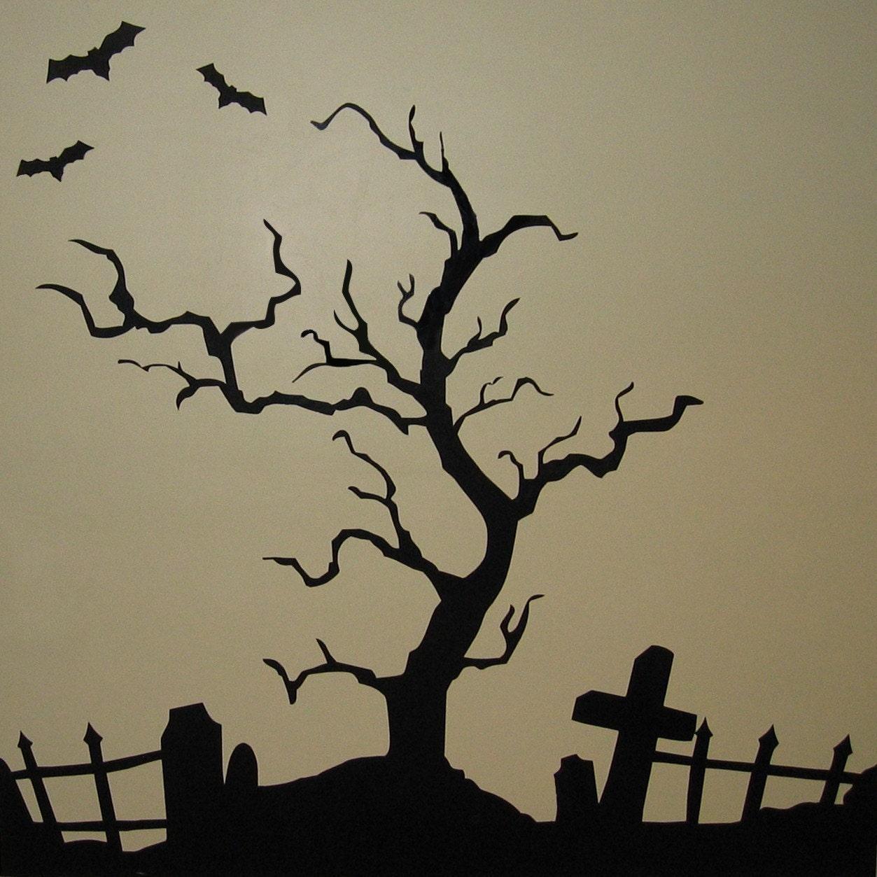 Halloween Wall Art halloween graveyard and fence only vinyl wall art