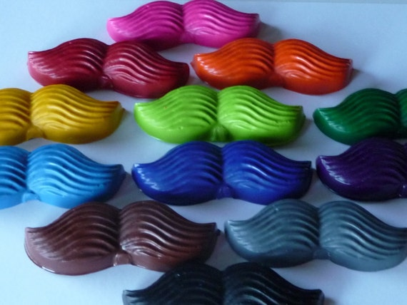 Mustache Crayons Complete Disguise Upcycled \/ Recycled (set of 12)