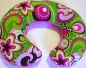 Flower Swirls with Pink Minky--Baby-Toddler-Childrens Neck Travel Pillow-Closing Shop Sale