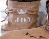 Christmas Mini Burlap Bags with Crown Choose Joy or Noel