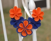 Auburn Tigers - Orange and Blue Ecofriendly Felt Flower Bib Necklace - War Eagle - Memphis - Football - Tailgating