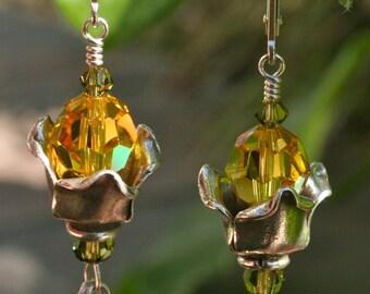 Petal Pushers - Swarovski Crystal and Sterling Silver Earrings
