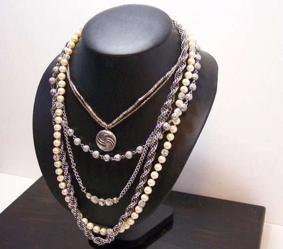 Silver and Pearl Statement Necklace Sterling Medallion
