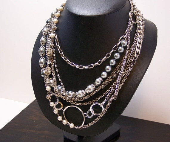 Chains and Pearls Multi Strand Necklace Silvers & Gray, Short and Sweet