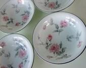 Vintage Set of Four Noritake Pink Rose Fruit or Dessert Bowls Pattern 5691