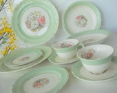 Vintage French Saxon Dinnerware Set, Two Placesettings