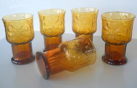 Vintage Libbey Country Garden Amber Tumbler Glasses, Set of Five