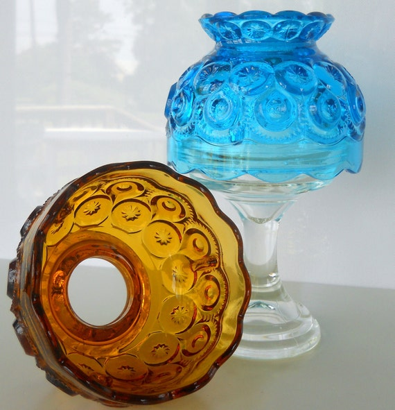 Vintage L E Smith Blue Moon And Star Candle Lamp With Amber