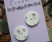 Handmade Buttons - Set of two White with Purple Flowereys