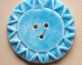 Handmade Button - Blue Sun