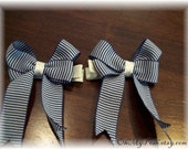 Navy and white stripe Nautical Tails Down pigtail bows