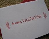 letterpress BE MINE valentine's card