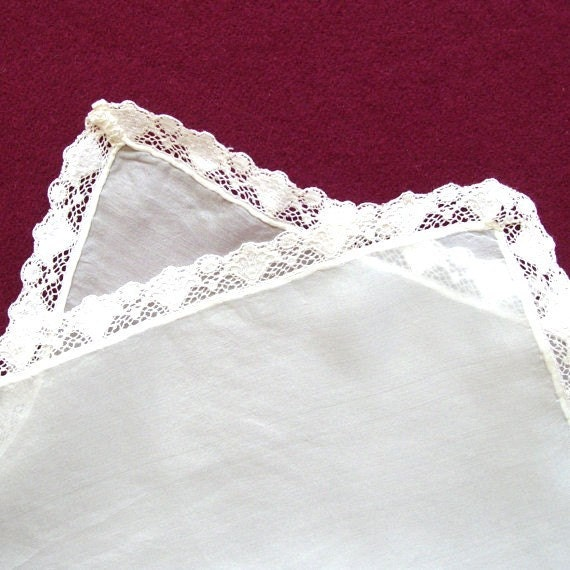 Ivory Silk and Cotton Lace Victorian Handkerchief - Ready to Ship