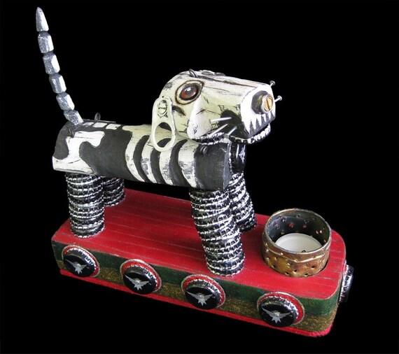 Skeleton Dog Candle Holder