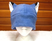 Blue Fleece Fox Hat - Mens Womens Teen Slate Blue Fox Ear Hat by Ningen Headwear