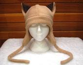 Siamese Cat  Hat - Womens Mens Aviator Style Hat Light Brown Fleece Ear Flap Hat by Ningen Headwear