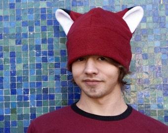 Animal Ear Hat - Dark Red Fleece Fox Hat by Ningen Headwear