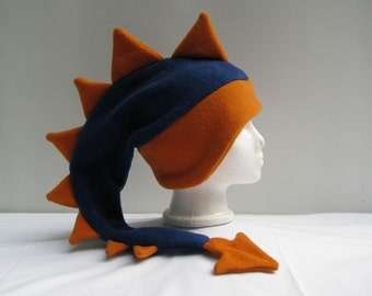 Dragon Hat - Mens Womens Dinosaur Hat Denim Blue / Orange Fleece by Ningen Headwear
