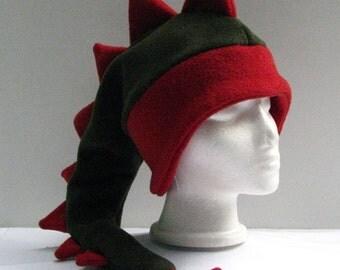 Fleece Dragon Hat - Green / Red Ear Flap Dinosaur Hat by Ningen Headwear