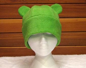 Gummy Bear Fleece Hat - Lime Green Animal Womens Mens Hat by Ningen Headwear