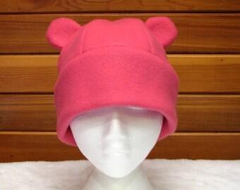 Pink Fleece Animal Hat - Girls Womens Gummy Bear Hat by Ningen Headwear