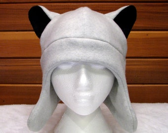 Silver Wolf Ear Hat - Light Gray Fleece Animal Hat with Ear Flaps by Ningen Headwear