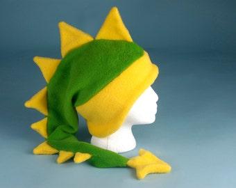 Fleece Dragon Hat - Lime Green / Yellow Dinosaur by Ningen Headwear
