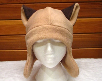 Animal Ear Hat Siamese Cat - Light Brown Fleece Ear Flap Hat by Ningen Headwear