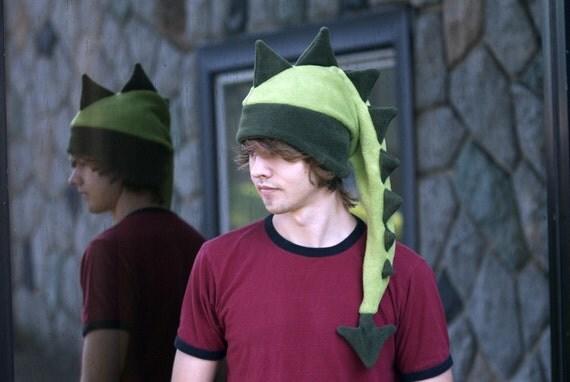 Dragon Fleece Hat - Mens Womens Light / Dark Green Dinosaur by Ningen Headwear