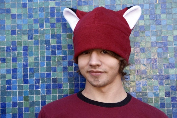 Animal Ear Hat - Dark Red Fleece Fox Hat by Ningen Headwear