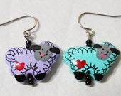 Purple and Green Wooden Sheep Beaded Earrings